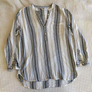 Lucky Brand Striped Linen Blend Tunic
